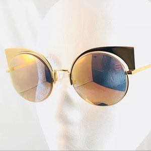 28a4ddb861 Fendi Accessories - Fendi Runway Mirrored Cutout Sunglasses Gold
